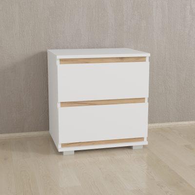 Прикроватка на 2 ящика без ручек Б-7 IDEA - 500 мм - ДСП - Белый Планка Крафт Золотой