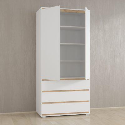 Шкаф белый с полками крафт IDEA без ручек